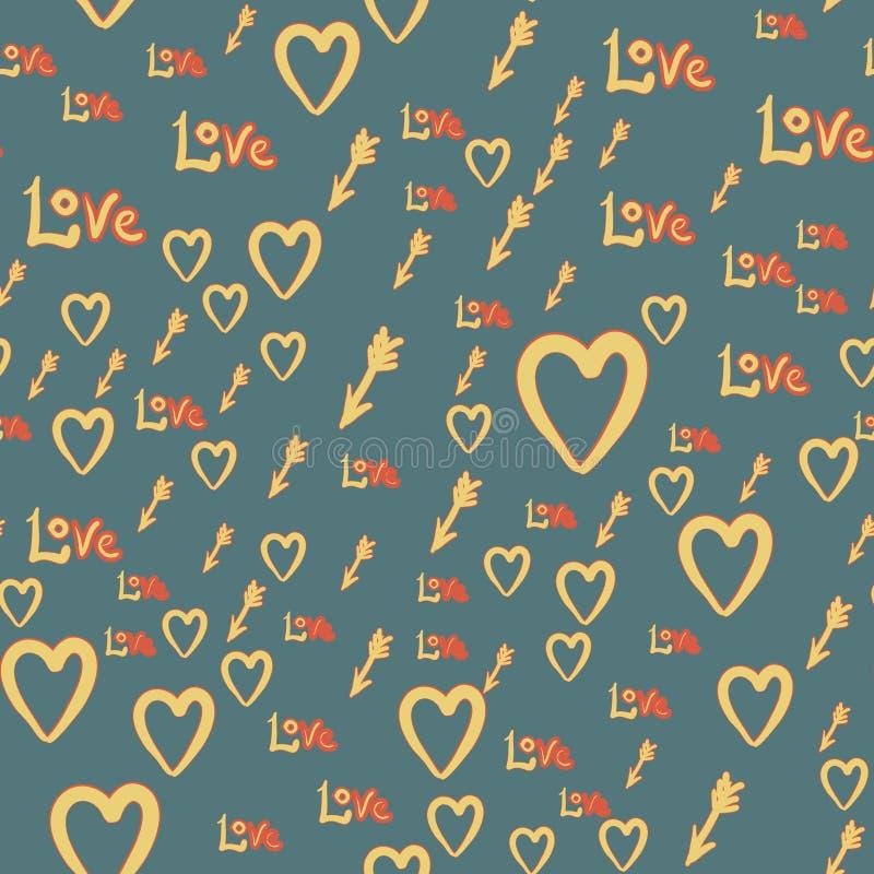 与心脏,弓男孩箭头,爱的浪漫无缝的样式 情人节装饰纹理 概念亲吻妇女的爱人 背景高雅重点邀请浪漫符号温暖的婚礼 皇族释放例证