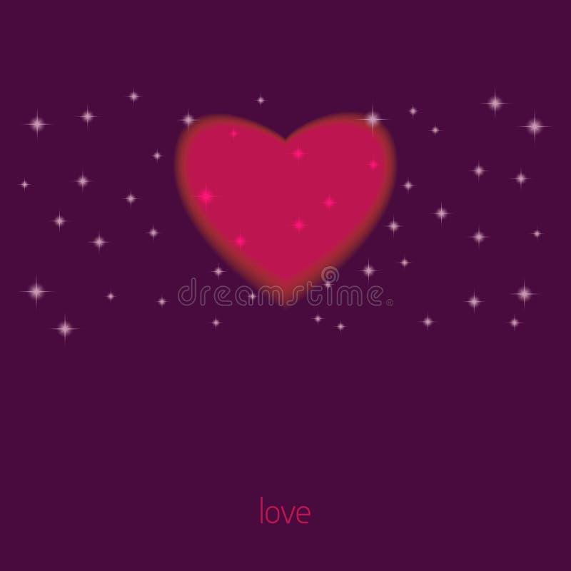 与心脏,爱的标志的卡片 向量 向量例证