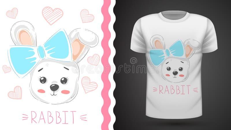 与心脏-印刷品T恤杉的想法的逗人喜爱的兔子 库存例证