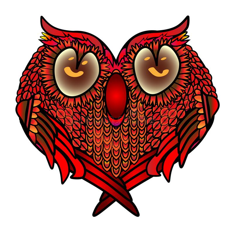 与心脏-在爱、华伦泰s天或者婚礼祝贺的被安定的逗人喜爱的猫头鹰的贺卡 库存例证