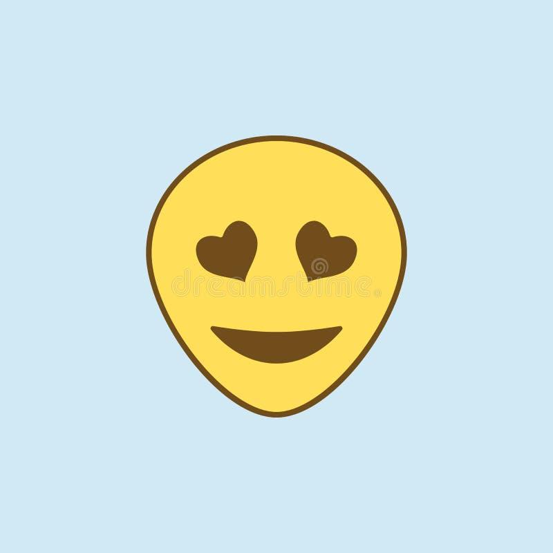 与心脏2种族分界线象的眼睛 简单的黄色和棕色元素例证 与心脏概念概述标志设计的眼睛 向量例证