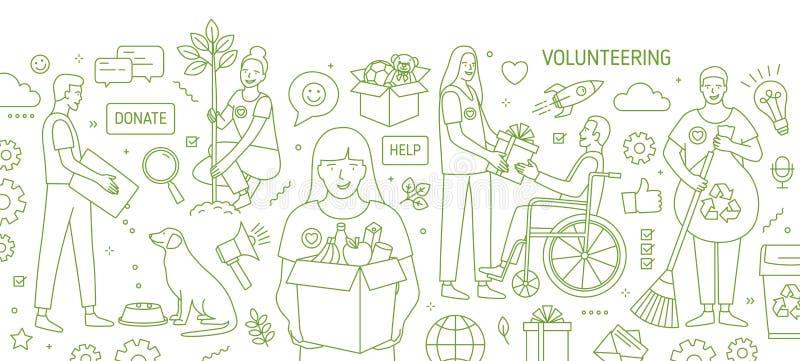 与志愿或完成志愿工作的微笑的年轻人和妇女的水平的横幅得出与绿色等高线 向量例证
