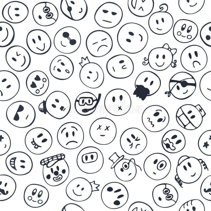 与快乐和愉快的兴高采烈的面孔的无缝的样式 剪影em 向量例证
