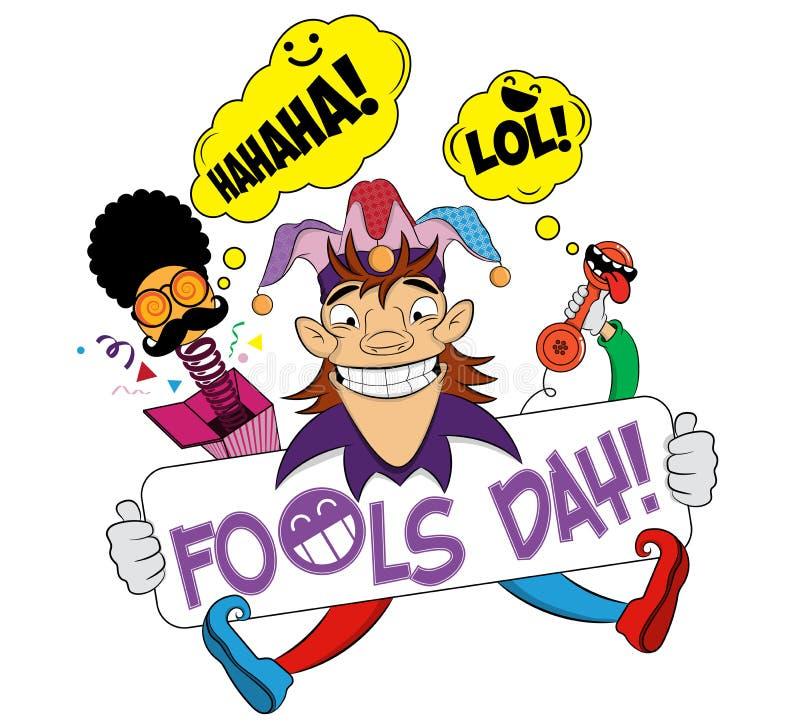 与快乐的供人潮笑者的愚人节 一日愚人节有可笑的面孔的惊奇箱子 说笑话者的例证 r 皇族释放例证