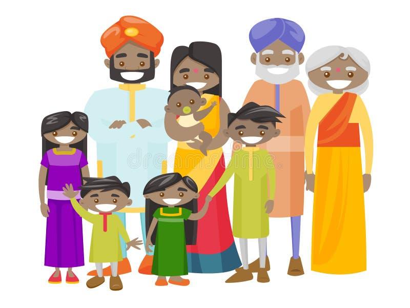 与快乐的微笑的愉快的延长的印地安家庭 库存例证