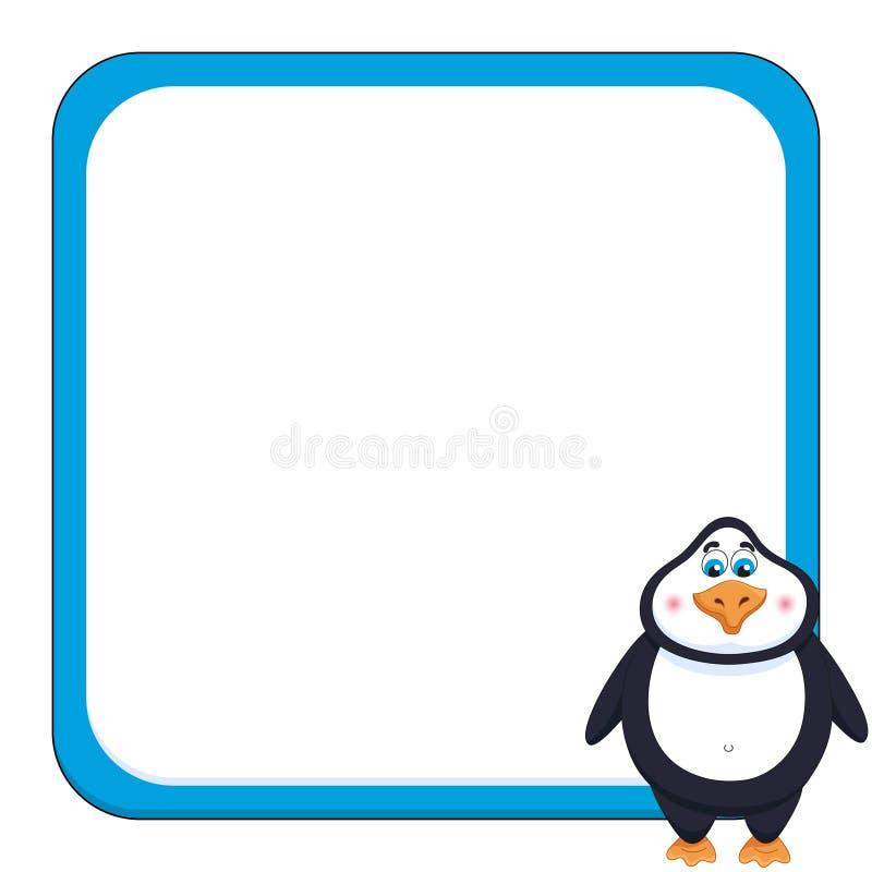 与快乐的逗人喜爱的企鹅,滑稽的框架的学校背景 皇族释放例证