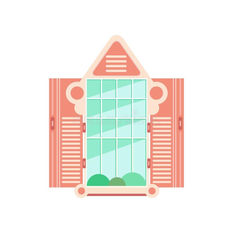 与快门的减速火箭的木窗架,建筑设计元素在白色背景的传染媒介例证 皇族释放例证