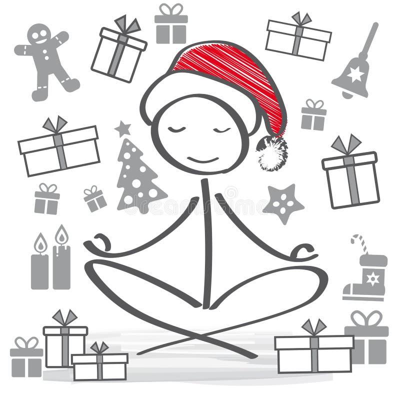 与思考的圣诞老人的圣诞节假日 库存例证