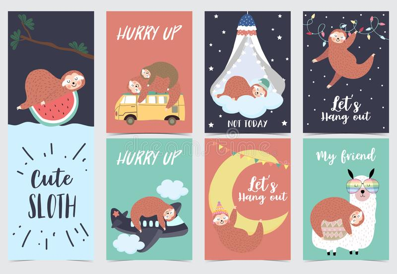 与怠惰、桔子、西瓜、树、骆马、床、月亮和飞机的手拉的逗人喜爱的卡片 向量例证