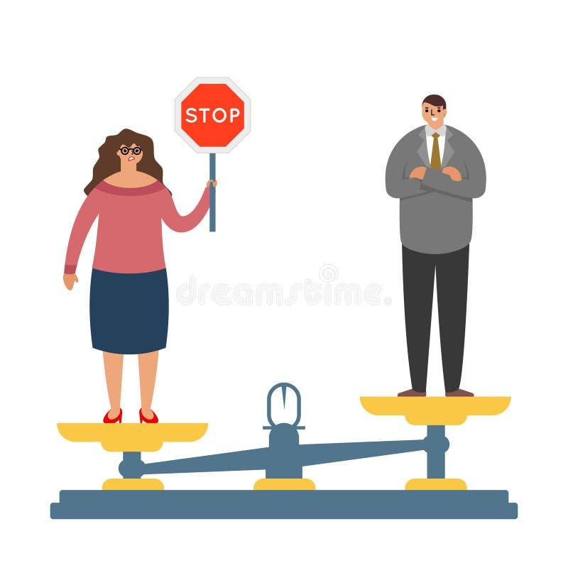 与性别不平等需求战斗平等权利男女字符战斗的妇女FOT平衡标度称重者概念 皇族释放例证