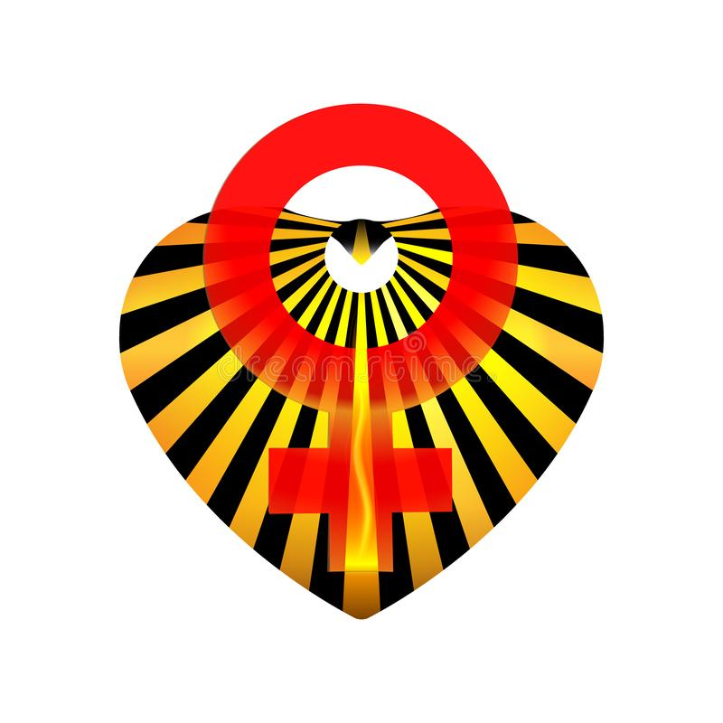 与性别创造性标志的妇女的情人节或3月8日心脏 爱黄色和橙色口气的标志 图形设计的象 库存例证