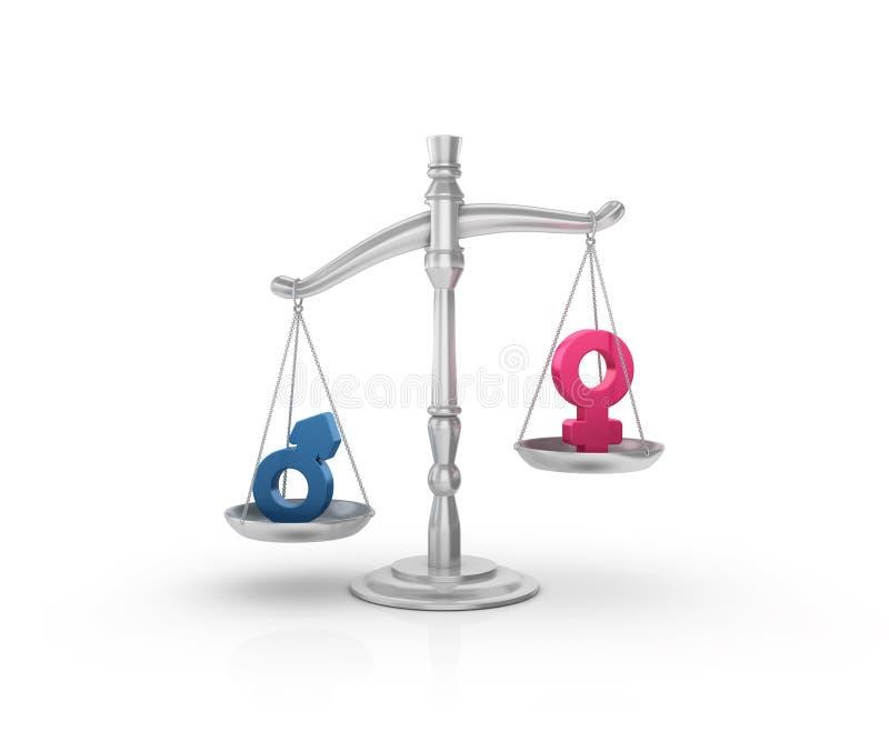 与性别标志的法律重量标度 向量例证