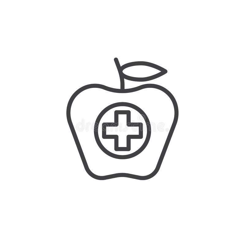 与总和线象的苹果计算机果子 库存例证