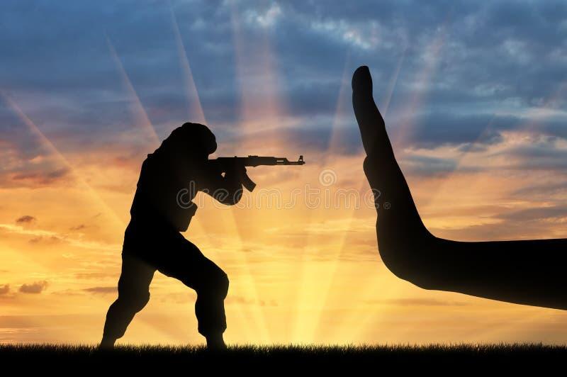 与恐怖主义概念的战斗 图库摄影