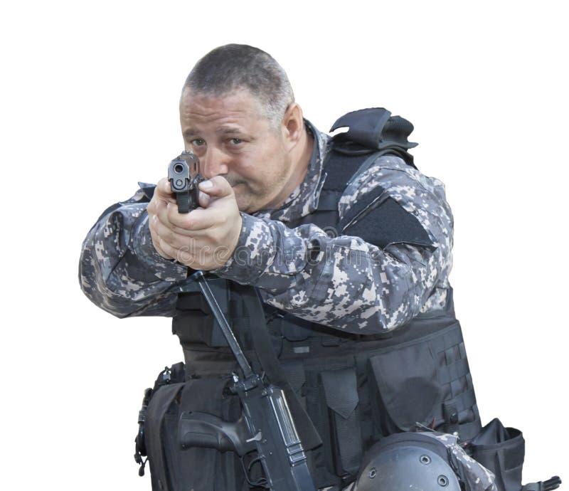 与恐怖主义,特种部队战士,警察作战扑打 免版税库存图片
