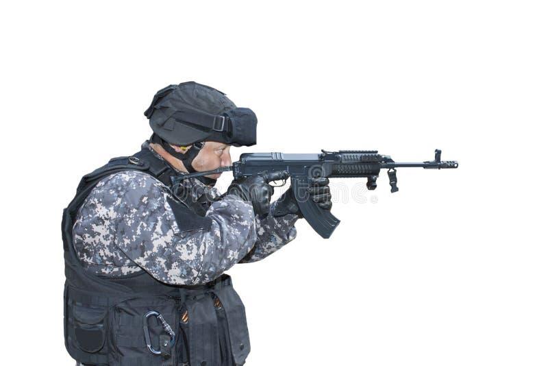 与恐怖主义,特种部队战士,警察作战扑打 免版税库存照片