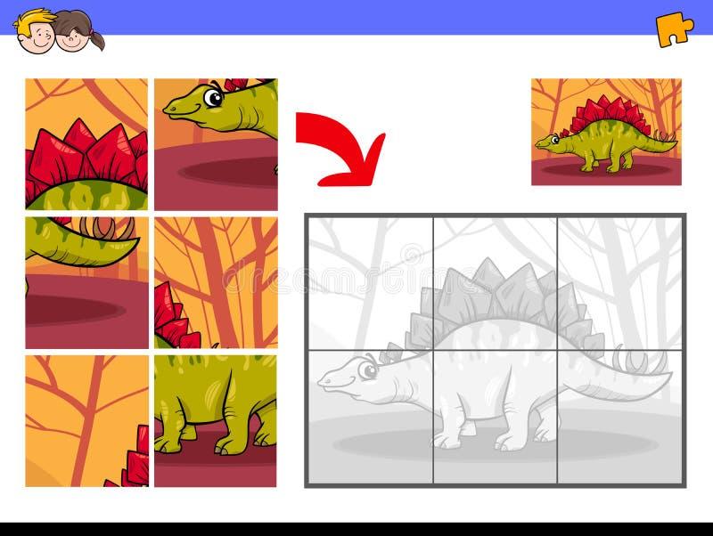 与恐龙动物字符的七巧板 向量例证