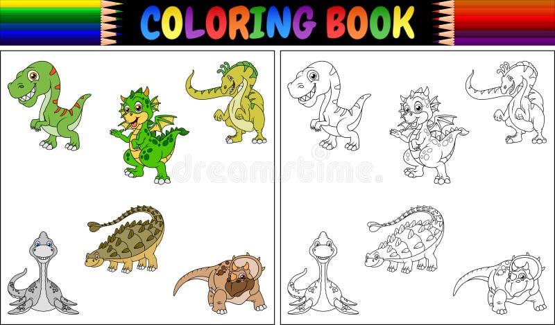 与恐龙动画片汇集的彩图 皇族释放例证