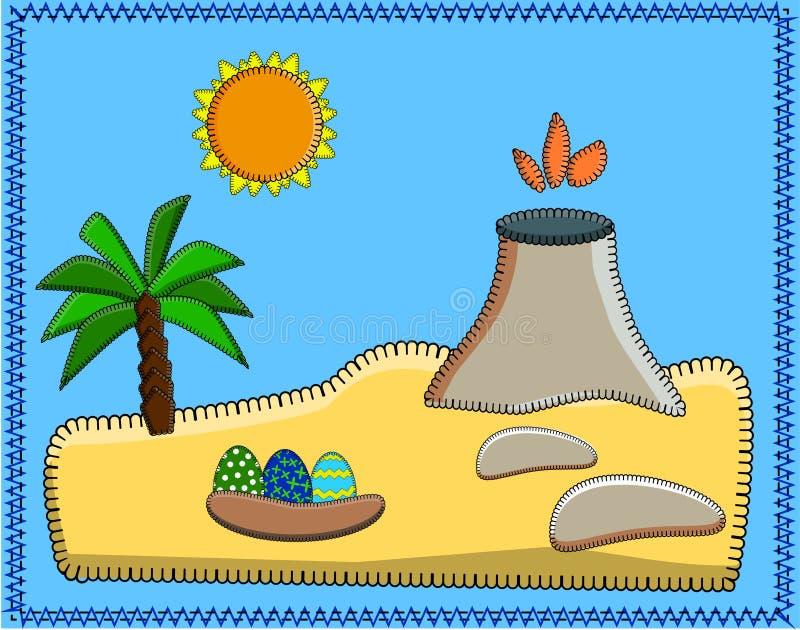 与恐龙海岛的风景  火山,棕榈树,沙子,石头,太阳,恐龙蛋 史前动画片全景 向量例证