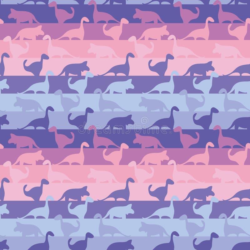 与恐龙的无缝的条纹图形在逗人喜爱的桃红色和紫色 库存例证