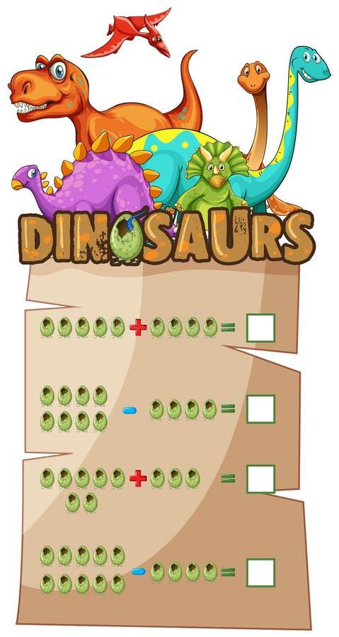 与恐龙的算术活页练习题 皇族释放例证