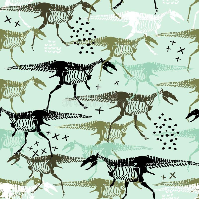 与恐龙骨骼和骨头的幼稚无缝的样式 时髦斯堪的纳维亚传染媒介背景 为孩子服装完善, 皇族释放例证