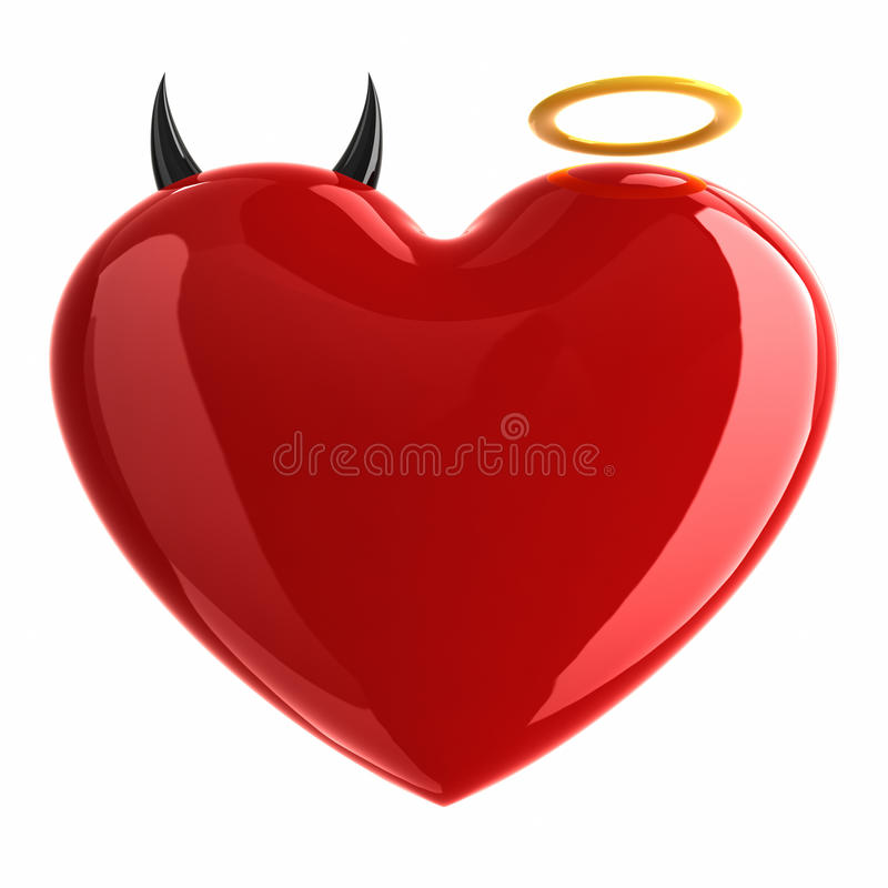 与恶魔的心脏和在白色隔绝的天使标志。 皇族释放例证