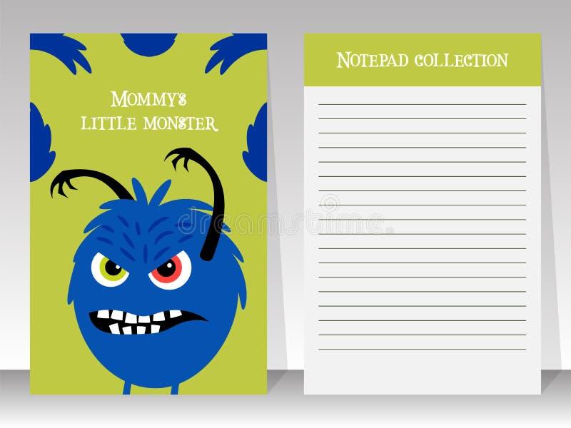 与恼怒的妖怪的逗人喜爱的笔记本模板 库存例证