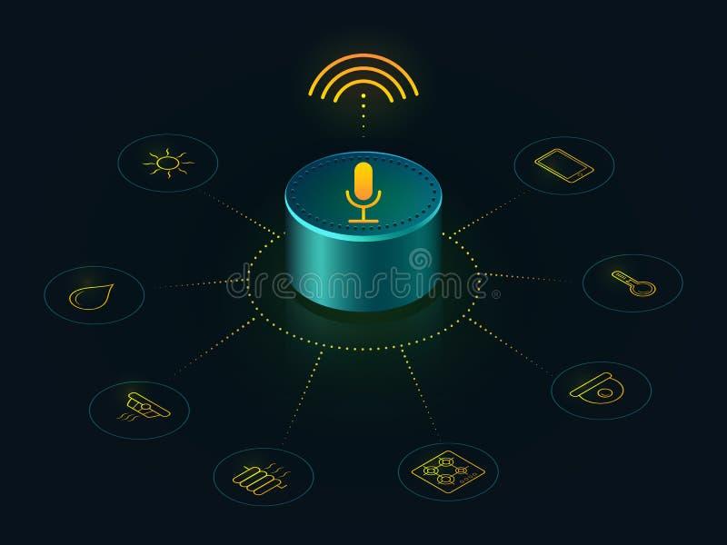 与您的家声音控制的聪明的报告人  库存例证