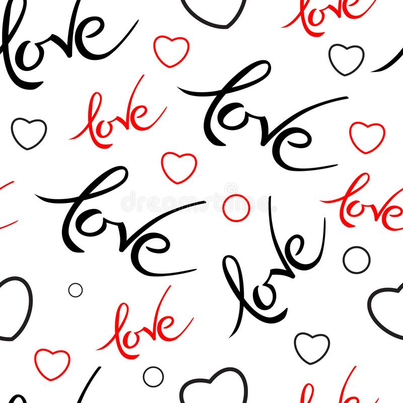 与情人节爱在上写字的Seamles样式 手拉的词爱 印刷术邀请 库存例证