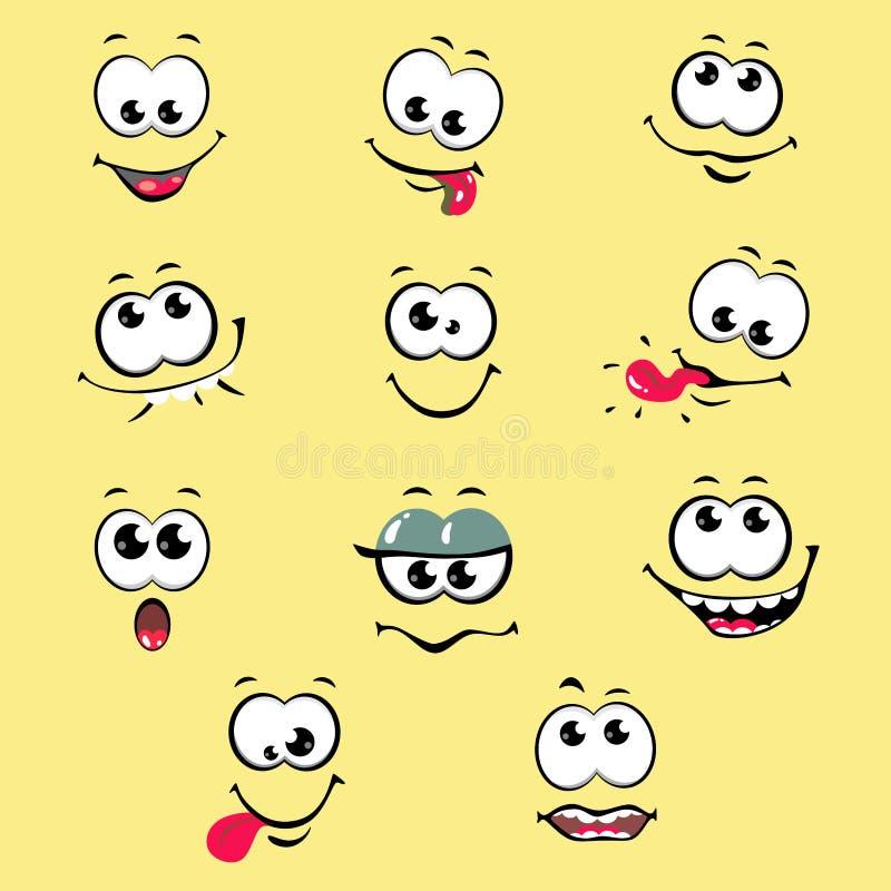 与情感漫画的滑稽的动画片面孔在白色背景 r 库存例证