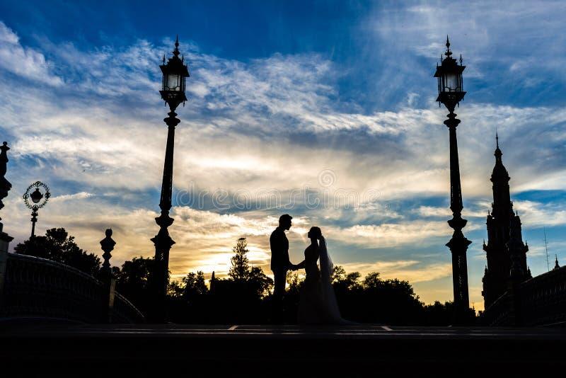 与惊人的天空的新娘和新郎剪影 库存照片