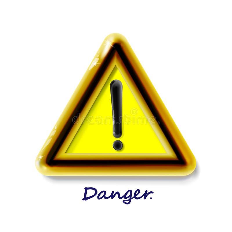与惊叹号标志的危险警告的注意标志 豪华在光的象现实3d塑料黄色现代光滑的危险 向量例证