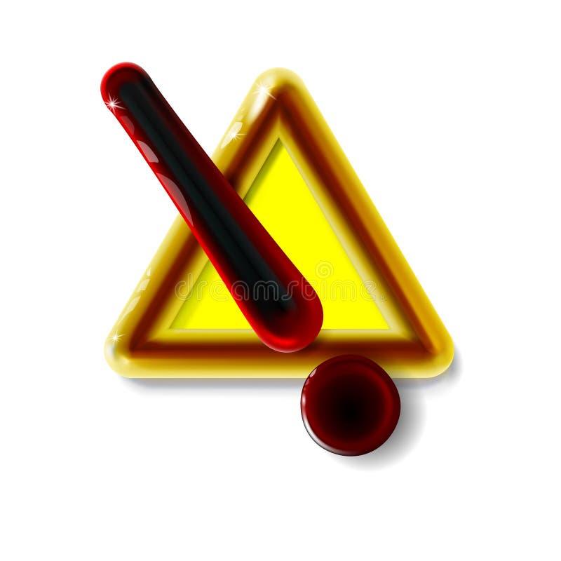 与惊叹号标志的危险警告的注意标志 豪华在光的象现实3d塑料黄色现代光滑的危险 库存例证