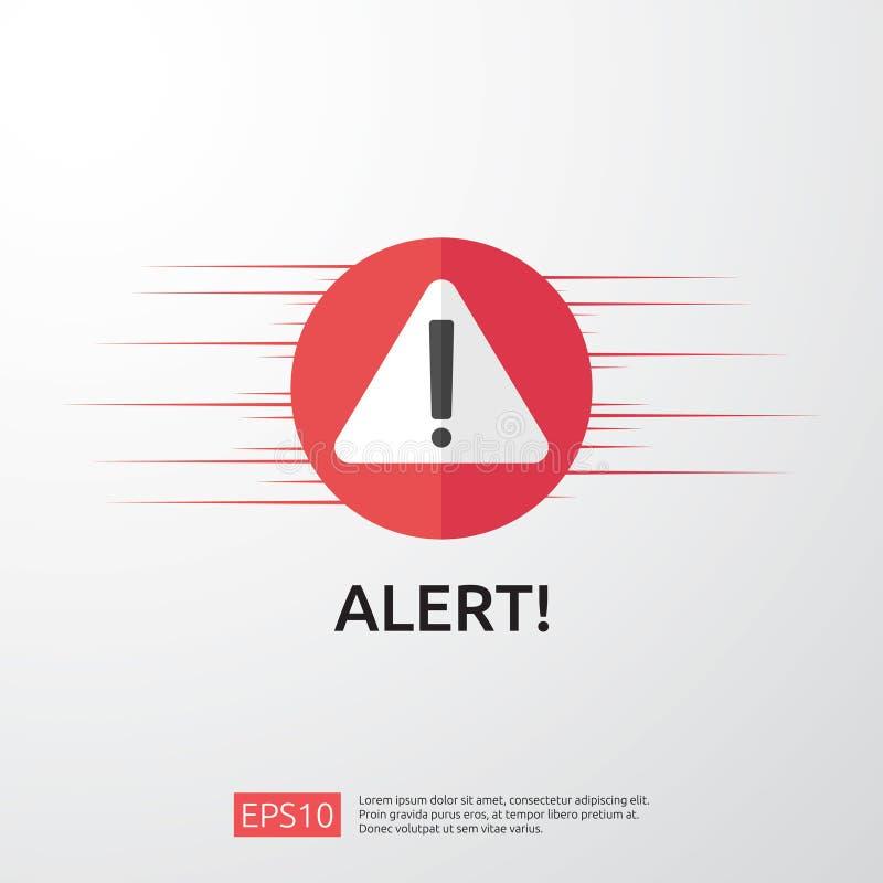 与惊叹号的注意警告的攻击者戒备标志 当心互联网危险标志的警报 VPN的盾线象 库存例证