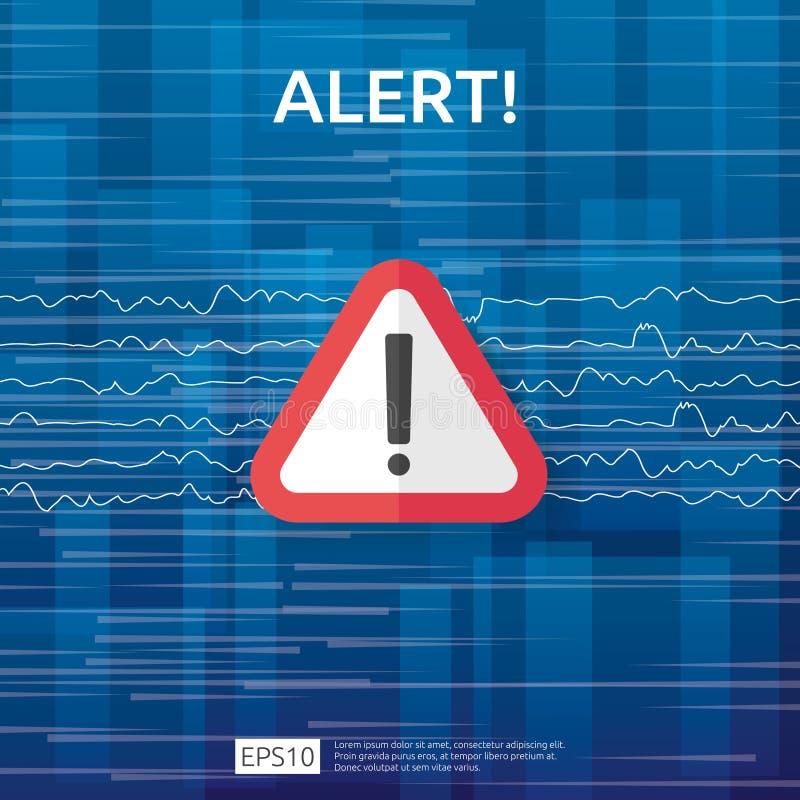 与惊叹号的注意警告的攻击者戒备标志 当心互联网危险标志的警报 VPN的盾线象 向量例证