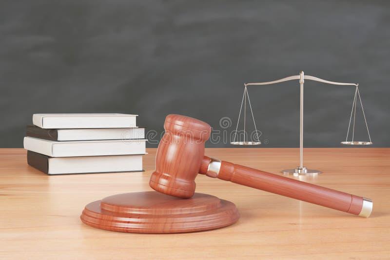 与惊堂木、书和标度的诉讼存货在木tabl 皇族释放例证