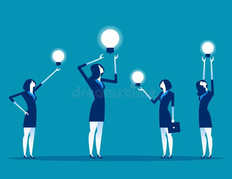 与想法工作的企业队 概念企业传染媒介例证,配合,办公室工作者 向量例证