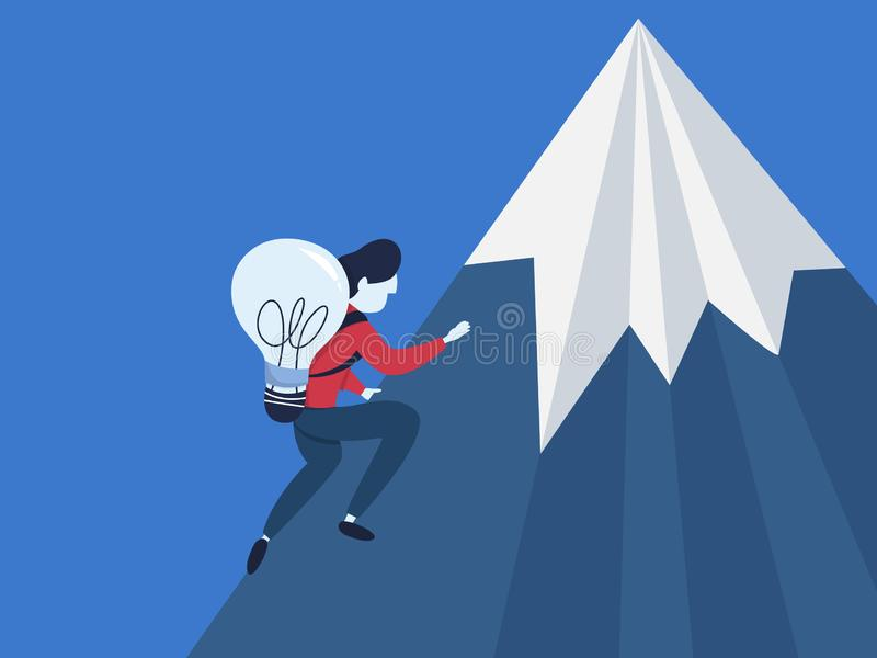 与想法攀登的商人在山 向量例证