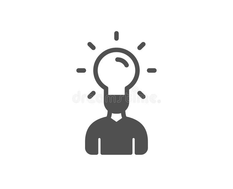 与想法灯象的人的剪影 向量 向量例证