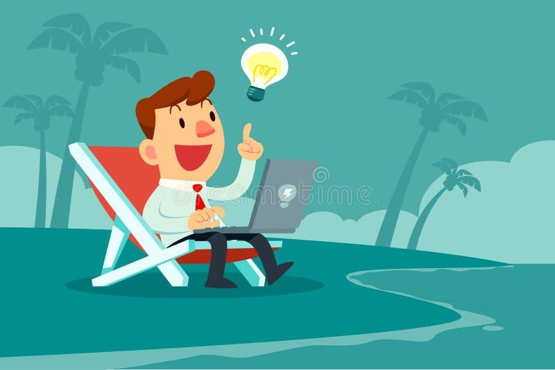 与想法电灯泡的商人与在海滩的计算机一起使用 皇族释放例证