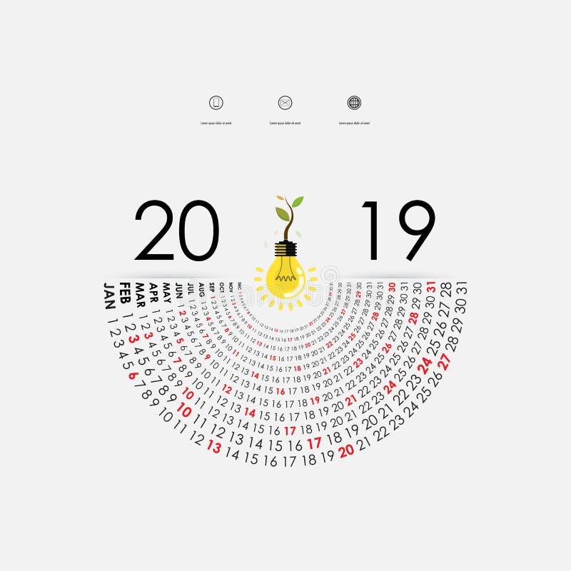 与想法电灯泡象的2019本日历模板 半圆cale图片