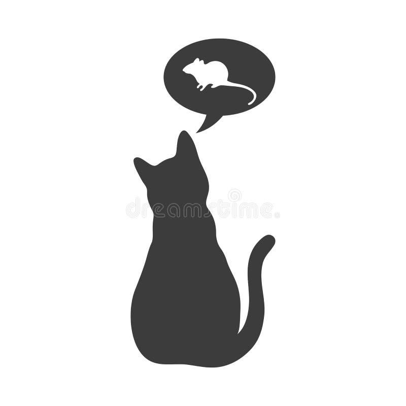与想法的剪影猫关于在白色背景的老鼠 皇族释放例证