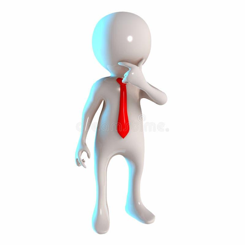与想法的姿势的3D Stickman 皇族释放例证