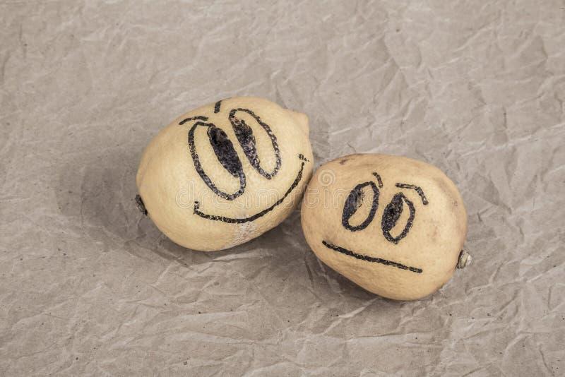 与愉快和哀伤的表示的柠檬 免版税库存照片