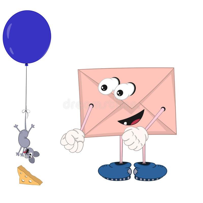 与愉快地看起来在气球的一次小的老鼠飞行的眼睛、腿和手的滑稽的动画片信封 皇族释放例证