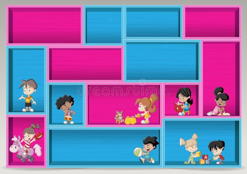 与愉快的动画片孩子的五颜六色的木架子 向量例证