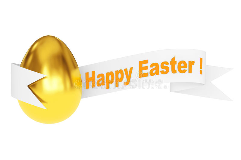 与愉快的复活节丝带标志的金黄鸡蛋 3d翻译 库存例证
