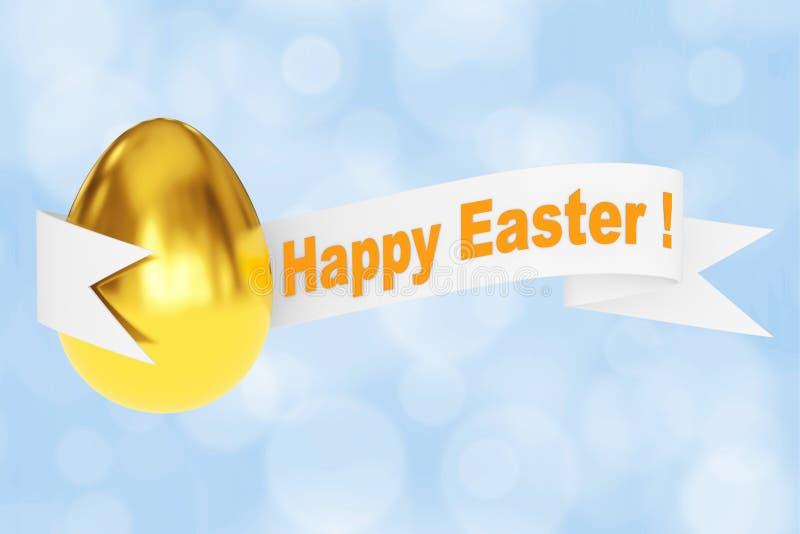 与愉快的复活节丝带标志的金黄鸡蛋 3d翻译 皇族释放例证