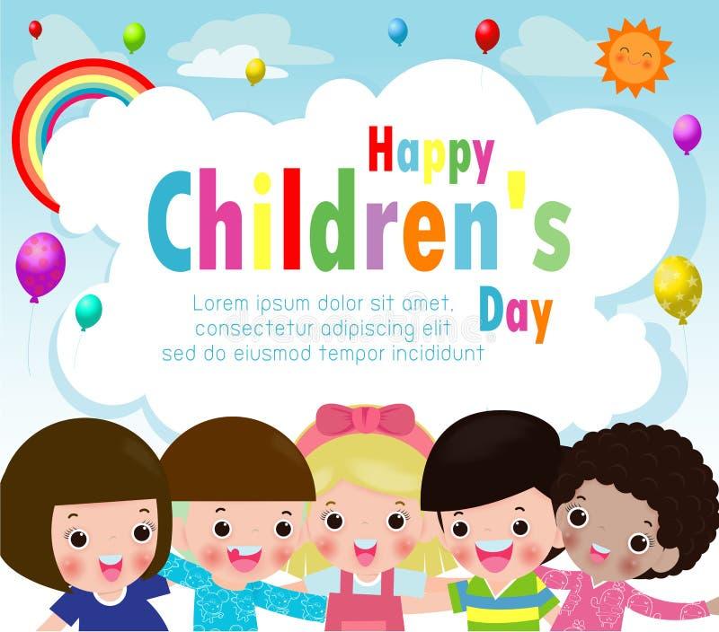 与愉快的孩子传染媒介例证的愉快的儿童节背景海报 皇族释放例证